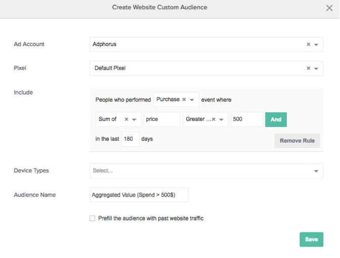 enhanced website custom audiences - example1